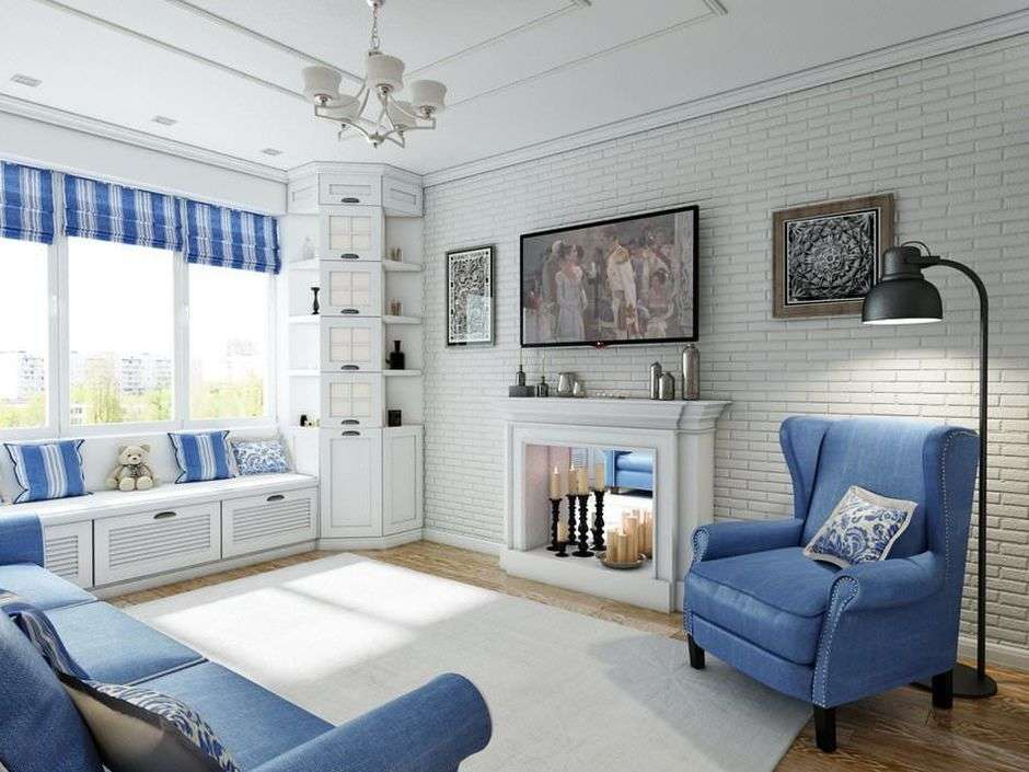 Вариант оформления бело-голубой гостиной во французском стиле